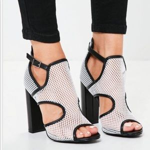 White mesh panelled block heel sandals